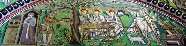Detalhe de mosaico bizantino com cenas da vida de Abraão, século VI d.C., Basilica de São Vital, Ravena, Itália